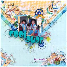 'COOL DUDE' Hi creative pals, Today, I want to share one of my chipboard & Colourarte projects this month. Scrapbook Pages, Scrapbooking, Scrapbook Layouts, 2017 Design, Gel Medium, Polymer Clay Pendant, Canvas Board, Mixed Media Painting, Art Journal Pages