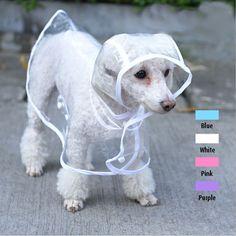 2015 moda para mascotas perro lluvia chaqueta de la capa ropa Puppy perros chubasquero impermeable transparente impermeable Rainsuit 4 colores Free & Drop Shipping