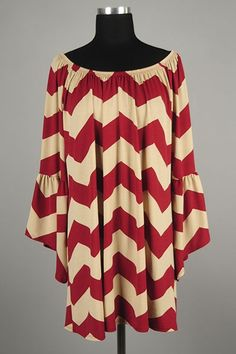 *** New Style *** Flirty Pleated Knit Tunic with Elasticized Boat Neckline and Ruffled Bell Sleeves in Chevron Print.