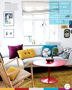 Colour Palette: Eclectic Living Room – Bright.Bazaar. Start with a neutral base, adding color with layers