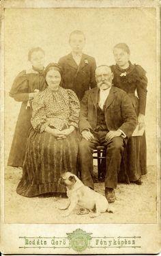 https://flic.kr/p/rMzbvq | Family with dog | Cabinet card, 1890s Photographer: Bodáts Gerő Budapest vagy/or Moson (ma Mosonmagyaróvár) Activity: 1870-1894 Hungary Dömök család