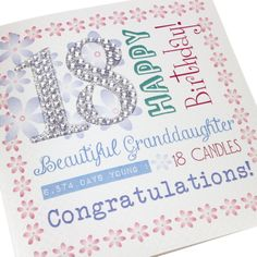 Handmade 18th Birthday Card Pretty Pink Gorgeous Stick on Silver Glitter Diamanté Numbers - 'Happy Birthday Beautiful Granddaughter'