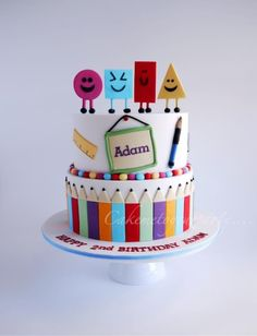 "www.facebook.com/cakemetoyourparty Adam loves the UK children's television show, ""Mr Maker"", so we made this Mr Maker inspired cake for his 2nd Birthday. The top tier was a chocolate buttercake wit..."