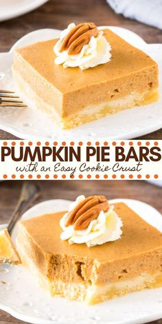 Pumpkin pie without the hassle! These easy pumpkin pie bars have a buttery crust and creamy pumpkin pie filling infused with cinnamon and brown sugar. Perfect for feeding a crowd – they're the perfect Thanksgiving dessert. from Just So Tasty Easy Pumpkin Pie, Pumpkin Pie Bars, Pumpkin Pie Recipes, Fall Recipes, Easy Pumpkin Desserts, Pumpkin Spice, Pumpkin Pumpkin, Sweet Recipes, Yummy Recipes