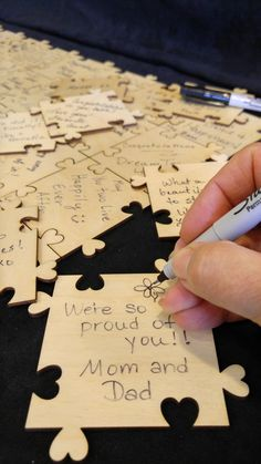 This is a fun guest book. 3 inch by 3 inch wood puzzle pieces. Each piece is EXACTLY the same. Easy breezy to put together and no worries if a piece gets lost. EASY, EASY, EASY to replace. Use as many as you like and DIY frame after the celebration Pieces are huge...a good huge! Perfect for a