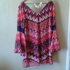 """SOLD. Rad 70's lined poly dress by Rock 47 Polyester with a navy stretch lining. The sleeves are radical 60's stuff! This is a long mini.  38"""" bust. Large V neckline in front and back. Machine wash.  Great conversation piece... Dresses Mini"""