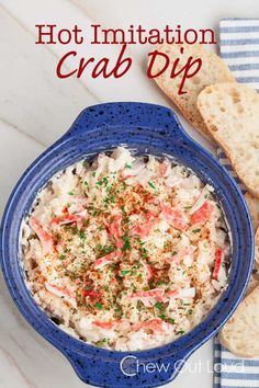Hot Imitation Crab Dip - Super easy just a few ingredients and delicious! Serve it hot with bread or crackers. Hot Imitation Crab Dip - Super easy just a few ingredients and delicious! Serve it hot with bread or crackers. Seafood Dip, Seafood Appetizers, Appetizer Dips, Seafood Dishes, Yummy Appetizers, Seafood Recipes, Appetizer Recipes, Cooking Recipes, Mexican Appetizers
