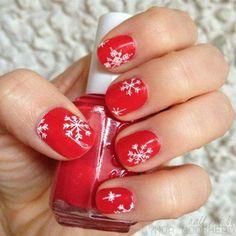 Easy Winter Snowflake Nail Art Ideas & Designs For Girls Red Nail Designs, Winter Nail Designs, Christmas Nail Designs, Nail Polish Designs, Nails Design, Art Designs, Christmas Toes, Christmas Nail Art, Holiday Nails
