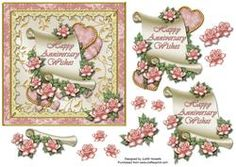 Scroll And Roses Anniversary Card Front