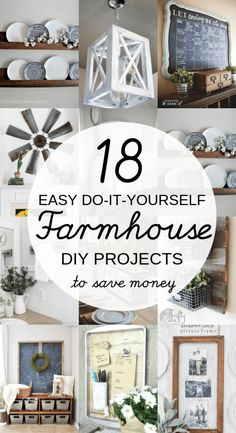 home decor farmhouse DIY Farmhouse decor ideas that are so easy to do you have no excuse not to try them! These cheap DIY rustic decor projects will change the look of your bedroom, mantle, living room, and bathroom on a small budget! Diy Rustic Decor, Rustic Farmhouse Decor, Farmhouse Design, Country Decor, Farmhouse Style, Industrial Farmhouse, Farmhouse Ideas, Farmhouse Lighting, Rustic Kitchen