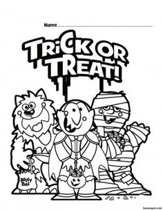 Halloween Trick or Treat Printable coloring pages - Printable Coloring Pages For Kids