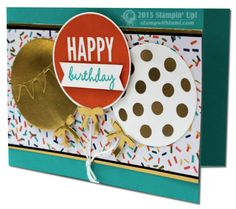 Here's fun party in a card featuring the Stampin Up Celebrate Today stamp set and Balloon frame lit bundle. Also uses the Birthday Bash specialty paper in the Occasions catalog. Design by Claire Daly.