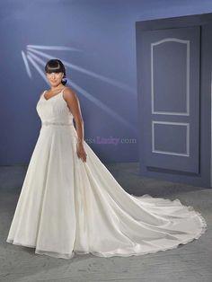 White A-Line/Princess Spaghetti Straps Natural Sleeveless Garden/Outdoor Wedding Dresses WDC01