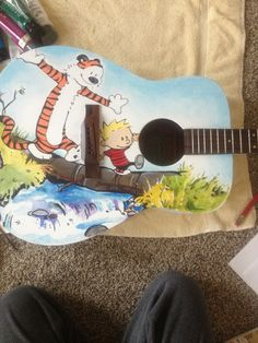 My girlfriend and I are refinishing my old guitar. She did the paint job. - Imgur