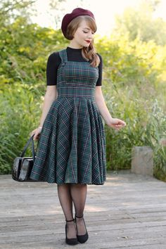 Hell Bunny plaid pinafore for a 40s 50s inspired autumn fall outfit