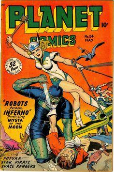 Vintage Sci Fi Poster Planet Comics Robots from Inferno Sci Fi Comics, Bd Comics, Horror Comics, Science Fiction Magazines, Science Fiction Art, Pulp Fiction, Vintage Comic Books, Vintage Comics, Comic Books Art