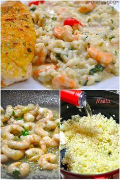 risoto-de-camarao Seafood Recipes, Cooking Recipes, Healthy Recepies, Salty Foods, Risotto Recipes, Food Goals, Fish Dishes, Pizza, My Favorite Food