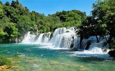 Télécharger fonds d'écran les chutes d'eau, l'été, la rivière Krka, la forêt, la Croatie, le Parc National de Krka