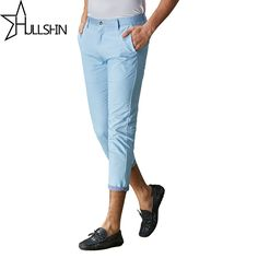756eef57 Hullshin Brand Spring Summer New Fashion Slim Straight Men Casual Pants  100% Pure Cotton Man Trousers Ankle Length pant yn85218-in Skinny Pants  from Men's ...