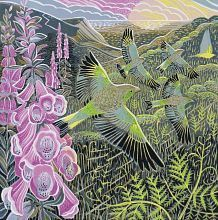 'Foxgloves and Finches' by contemporary UK printmaker Annie Soudain Linocut Prints, Art Prints, Woodcut Art, Eugenia Loli, Mystique, Wood Engraving, Woodblock Print, Bird Art, Female Art