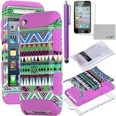Pandamimi ULAK(TM) 3-Piece Hybrid High Impact Case Green Tribal Pattern with Purple Silicone Inner Soft Shell for Apple iPod Touch Generation 4 with Free Stylus + Screen Protector by ULAK, http://www.amazon.com/dp/B00D76RBH4/ref=cm_sw_r_pi_dp_hkYSrb173NGD5