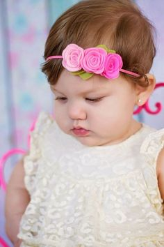 Pink felt flower headband baby toddler by muffintopsandtutus