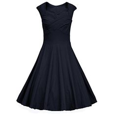 Gigileer Women's 1950s Retro Vintage Cap Sleeve With Ruched Crossover Bust Party Swing Dress (XXL(12-14), Black)