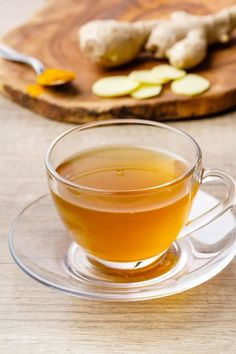 Ginger Turmeric Tea - water, ground turmeric, fresh ginger, raw honey (sub another sweetener)