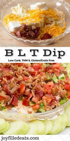 BLT Dip - The flavors of a BLT sandwich in dip form. Perfect for a summer bbq or party. Low carb, grain/gluten free, THM S. 4 g of carbs in 10 servings. via @Joy Filled Eats Ketogenic Recipes, Low Carb Recipes, Cooking Recipes, Healthy Recipes, Free Recipes, Ketogenic Diet, Diabetic Recipes, Radish Recipes, Zoodle Recipes
