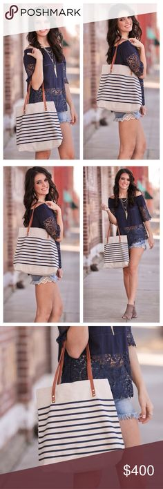 "Navy Striped Canvas Tote Brand new with tag. Navy Striped Canvas Tote. Measurement: 13"" x 14"". Super cute! Lightweight. Zipper closure. Brown handle. (39) Infinity Raine Bags Totes"