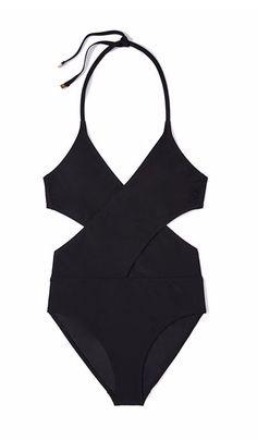 Black Wrap Halter One-Piece Swimsuit