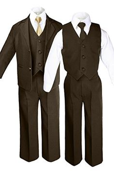 6pc Boys Khaki Tuxedo Suits with Satin Geometric Necktie Baby Kid Teen 7