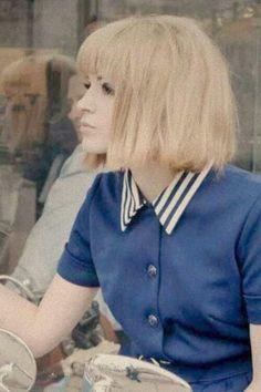 Blonde bob and bangs