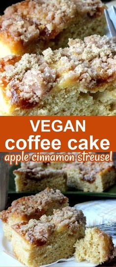 Easy Coffee Cake with Apple Cinnamon Streusel has a nice thick layer of fruity streusel topping. Perfect in the morning or as a sweet afternoon snack. Moist vegan coffee cake that's easy to make. #veganbreakfast #veganrecipes #coffeecake #veganinthefreezer #easycoffeecake #applecoffeecake #vegancoffeecake Vegan Sweets, Vegan Desserts, Just Desserts, Delicious Desserts, Vegan Recipes, Vegan Cake, Vegan Food, Yummy Recipes, Healthy Food