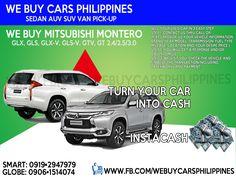 WE BUY USED MITSUBISHI MONTERO PHILIPPINES Montero Sport GLX 2.5D 2WD MT (Non-VGT) SE  Montero Sport GLX 2.5D 2WD AT (Non-VGT) SE  Montero Sport GLS V 2.5D 2WD AT SE  Montero Sport GLS V 2.5D 4WD MT SE  Montero Sport GTV 2.5D 4WD AT SE  All-new Montero Sport GLS 2.4D 2WD AT  All-new Montero Sport GLS Premium 2.4D 2WD AT  All-new Montero Sport GLS 2.4D 4WD MT  All-new Montero Sport GT 2.4D 4WD AT  Contact numbers: SMART: 0919-294-7979 GLOBE: 0927-956-2590 / 0906-151-4074