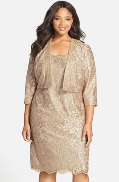 Mom would look soooo nice in this! Alex Evenings Embroidered Cocktail Dress with Embellished Bolero Jacket (Plus Size) available at #Nordstrom