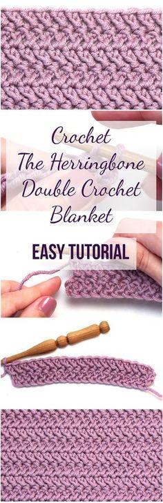 Crochet The Herringbone Double Crochet Blanket Easy Tutorial; video from Hopeful Honey too