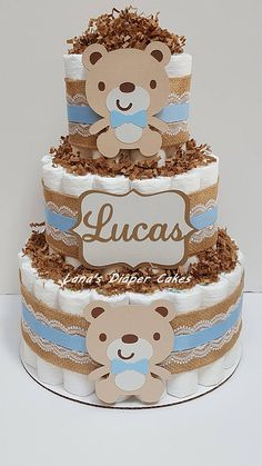 3 Tier Shabby Chic Teddy Bear Diaper Cake, Baby Blue and Brown Bear Baby Shower, Burlap, Rustic, Sha Regalo Baby Shower, Baby Shower Niño, Baby Shower Diapers, Baby Shower Cakes, Baby Shower Gifts, Diaper Shower, Baby Showers, Baby Shower Table Centerpieces, Baby Shower Decorations For Boys