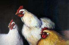 Three Hens Painting in Acrylic by Star by leboxboutique on Etsy, $250.00