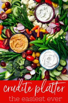 Start throwing in your colored vegetables to bring it to life! The Easiest Crudité Tray The Easiest Crudite Tray can be put together in less than 10 minutes for a stress-free holiday party! Veggie Platters, Party Food Platters, Veggie Tray, Party Trays, Appetizers For Party, Appetizer Recipes, Christmas Appetizers, Christmas Snacks, Holiday Meals
