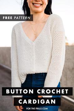 Crochet Buttons, Crochet Stitches, Knit Crochet, Double Crochet, Single Crochet, Crochet Jumpers, Diy Crochet Sweater, Crochet Crop Top, Crochet Blouse