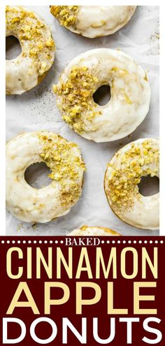 Glazed Cinnamon Apple Cider Baked Donuts with Crushed Walnuts   These Glazed Cinnamon Apple Cider Baked Donuts are bursting with crisp apple flavor and packed with cozy fall vibes! Easy to make and even easier to devour, these donuts are the perfect fall morning treat, afternoon snack or evening dessert! #apple #cinnamon #baked #donuts #vegetarian #recipe via @nospoonn
