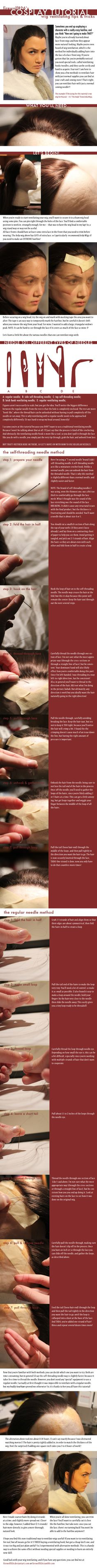 Cosplay Tutorial: Wig Ventilating Tips and Tricks by firewolf826.deviantart.com on @deviantART