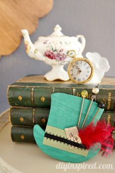 Vintage Mad Hatter Tea Party baby shower - DIY mad hatter hats from wood cutouts