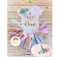 ~~~ Pink, Lavender, Aqua and gold Unicorn tutu set ~~ Please read entire description before purchasing for important information. ITEM DESCRIPTION: ~~ Embellished Bodysuit with Unicorn heat transfer applique ( bodysuits I use are from Carters brand and they run true to size