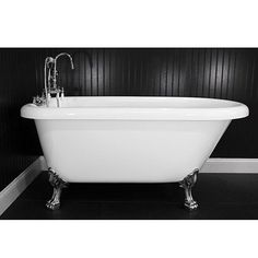 Baths of Distinction Spa Collection 56-inch Classic Style Clawfoot Tub and Faucet Pack (56 Classic Style Clawfoot Tub & Faucet Pack), White