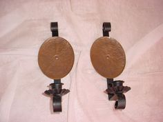 2 Vintage Candle Wall Sconces Black Metal w Copper 10 inch Castle Old World Pair Seller florasgarden on ebay