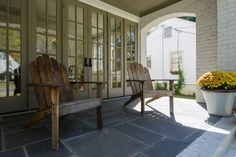 New Construction — Slate Barganier Building Cottage Homes, Cottage Style, Exterior Colors, Interior And Exterior, White Stucco House, Stucco Homes, Stone Cottages, New House Plans, House In The Woods