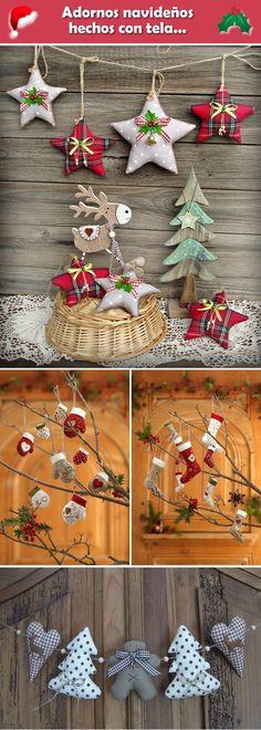 Adornos navideños hechos con tela. Decoración navideña con tela.