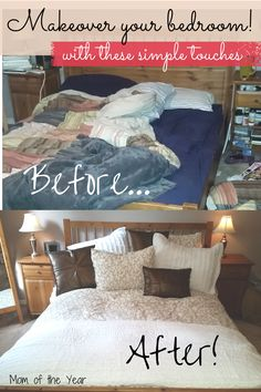 With a few simple, inexpensive touches, you can quickly makeover your bedroom. Mine was a MESS--check out these tricks I used and get ready for your own new room!